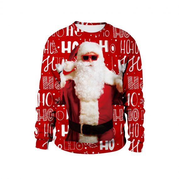 Sunny Side Up Santa 3D Ugly Christmas Sweatshirt