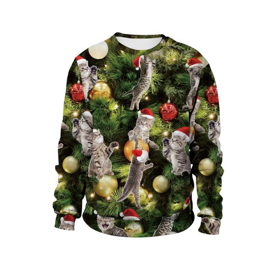Sweet Climbing Festive Kittens Ugly Christmas 3D Sweatshirt