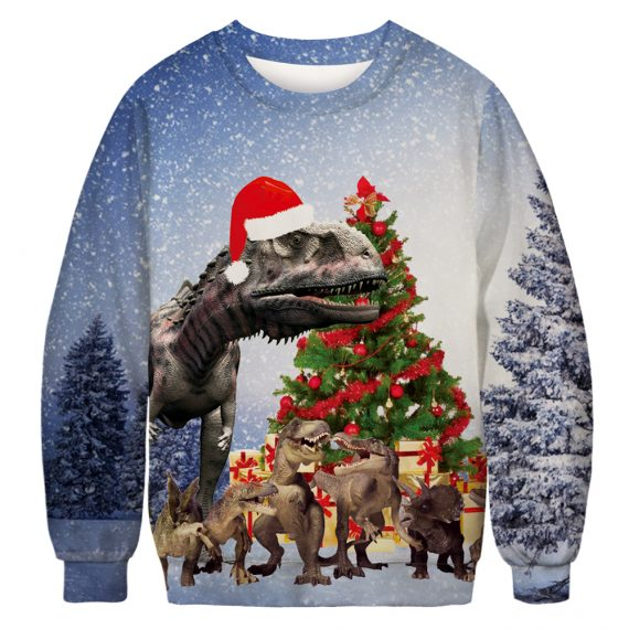 T-Rex and the Dino Gang Get Merry Ugly Christmas Sweatshirt