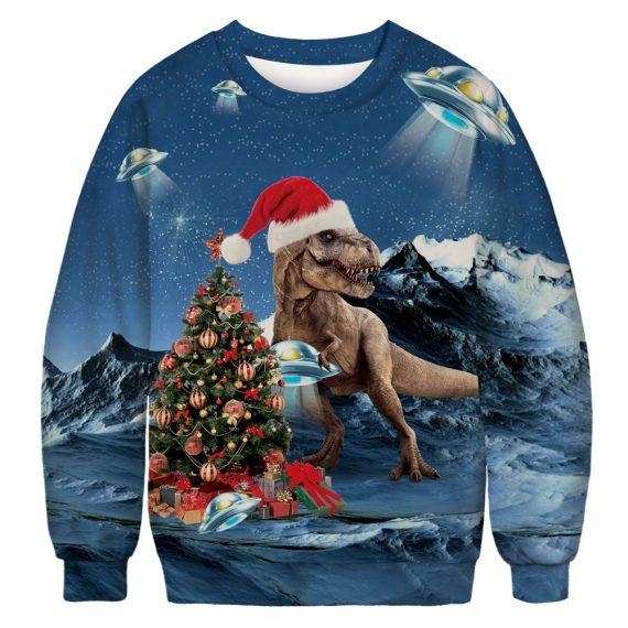 T-Rex Goes UFO Festive Ugly Christmas Sweatshirt