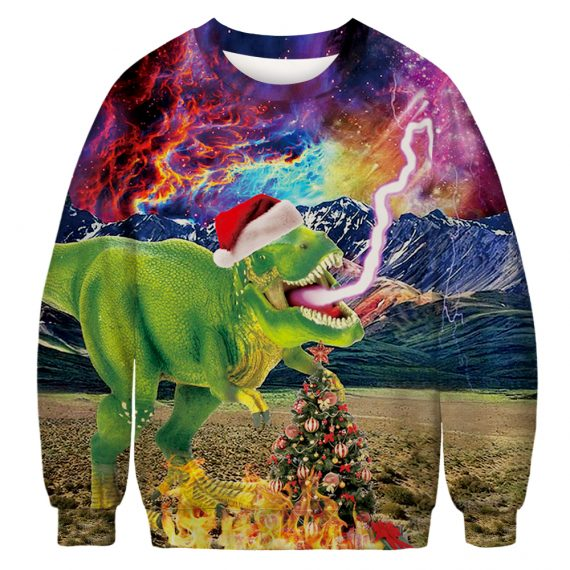 T-Rex Heats Up The Holidays Ugly Christmas Sweatshirt