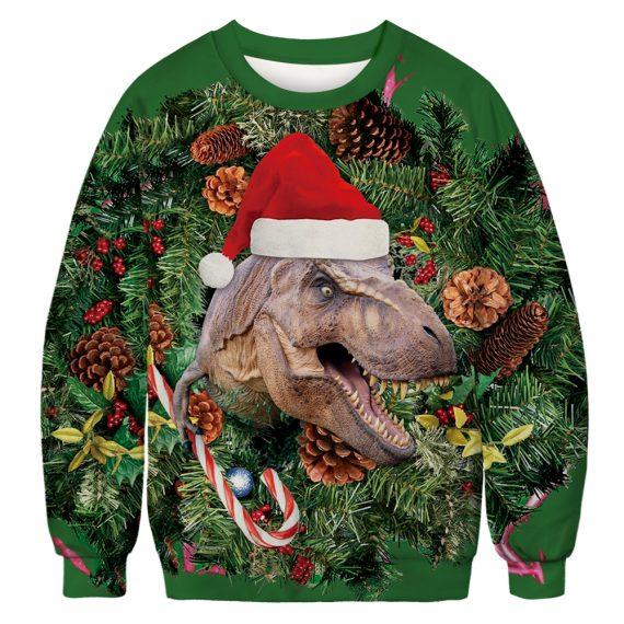 Tree-rific T-Rex Gets Festive Ugly Christmas Sweatshirt