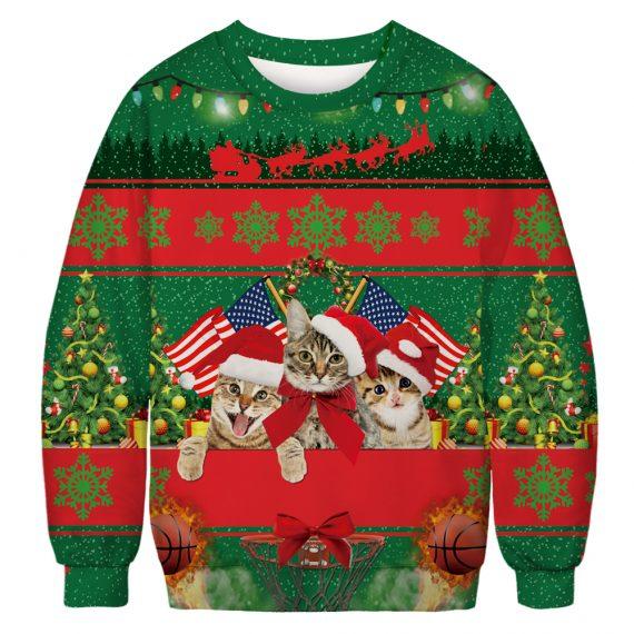 USA Felines Go Festive All The Way Ugly Christmas Sweatshirt
