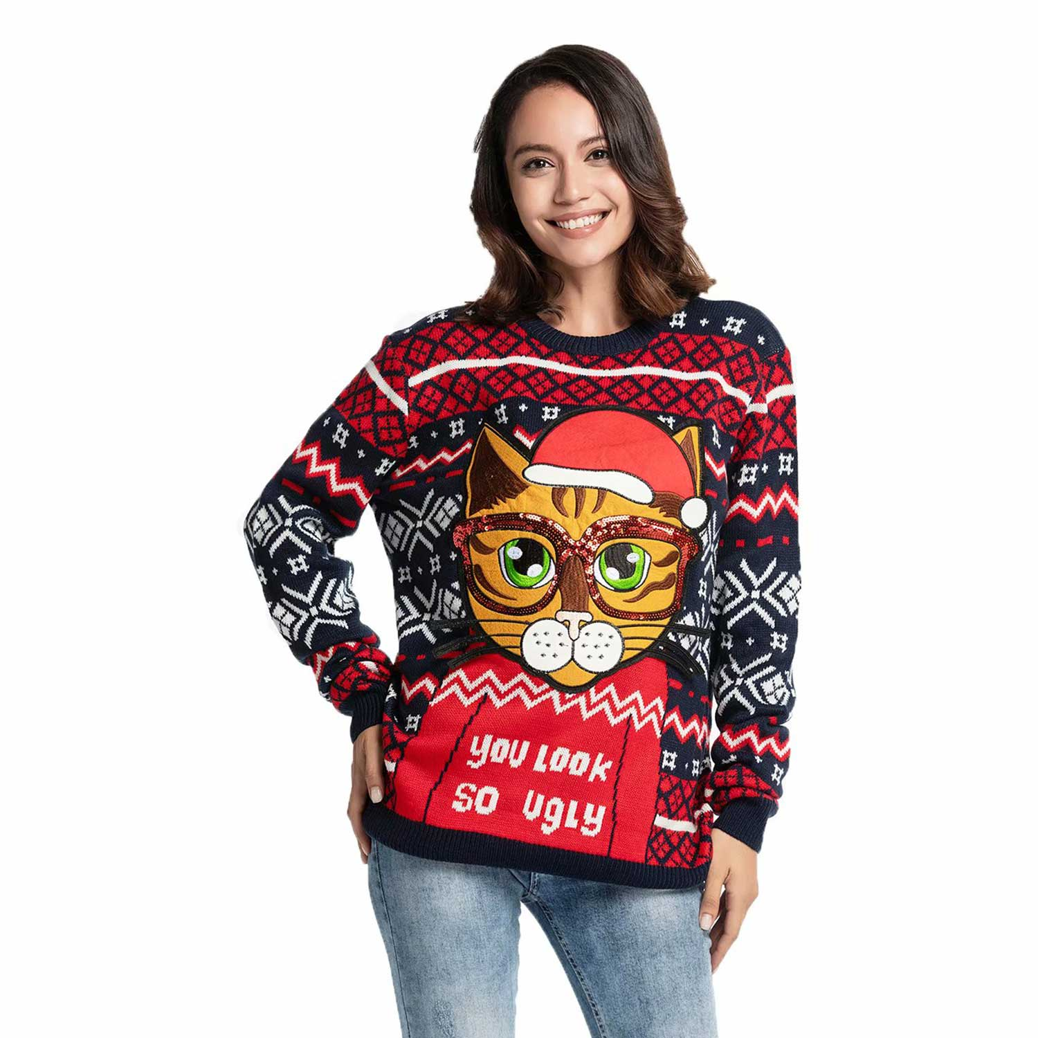 Funny Cute Kitty Women S Ugly Christmas Sweater You Look Ugly Today