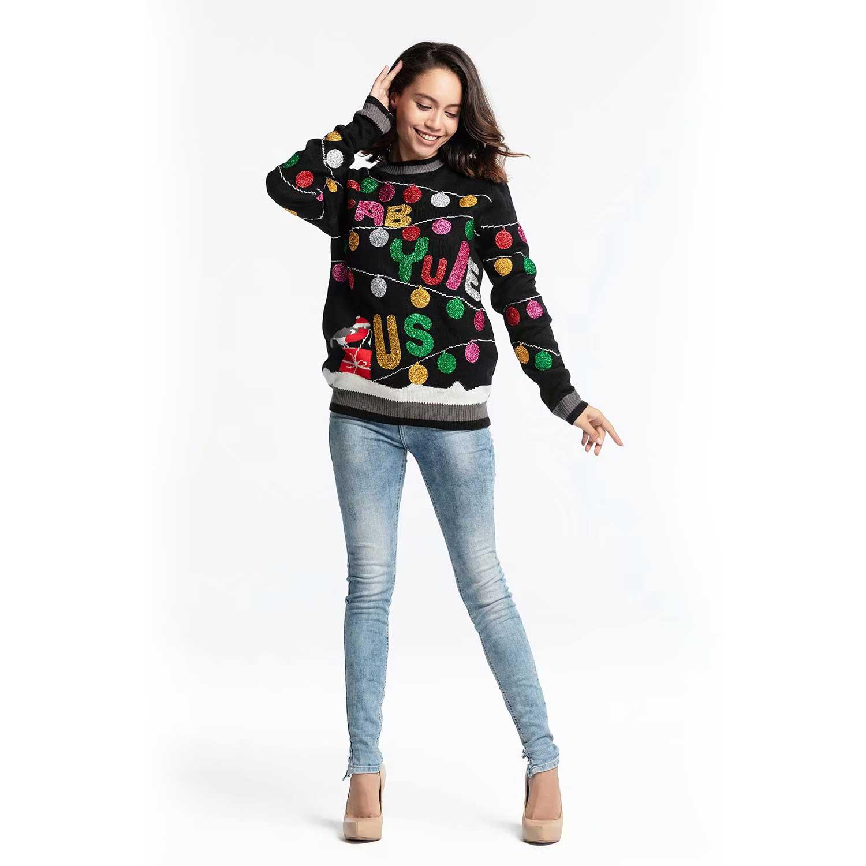 Fab Yule Us Black Festive Glitter Women's Ugly Christmas Sweater