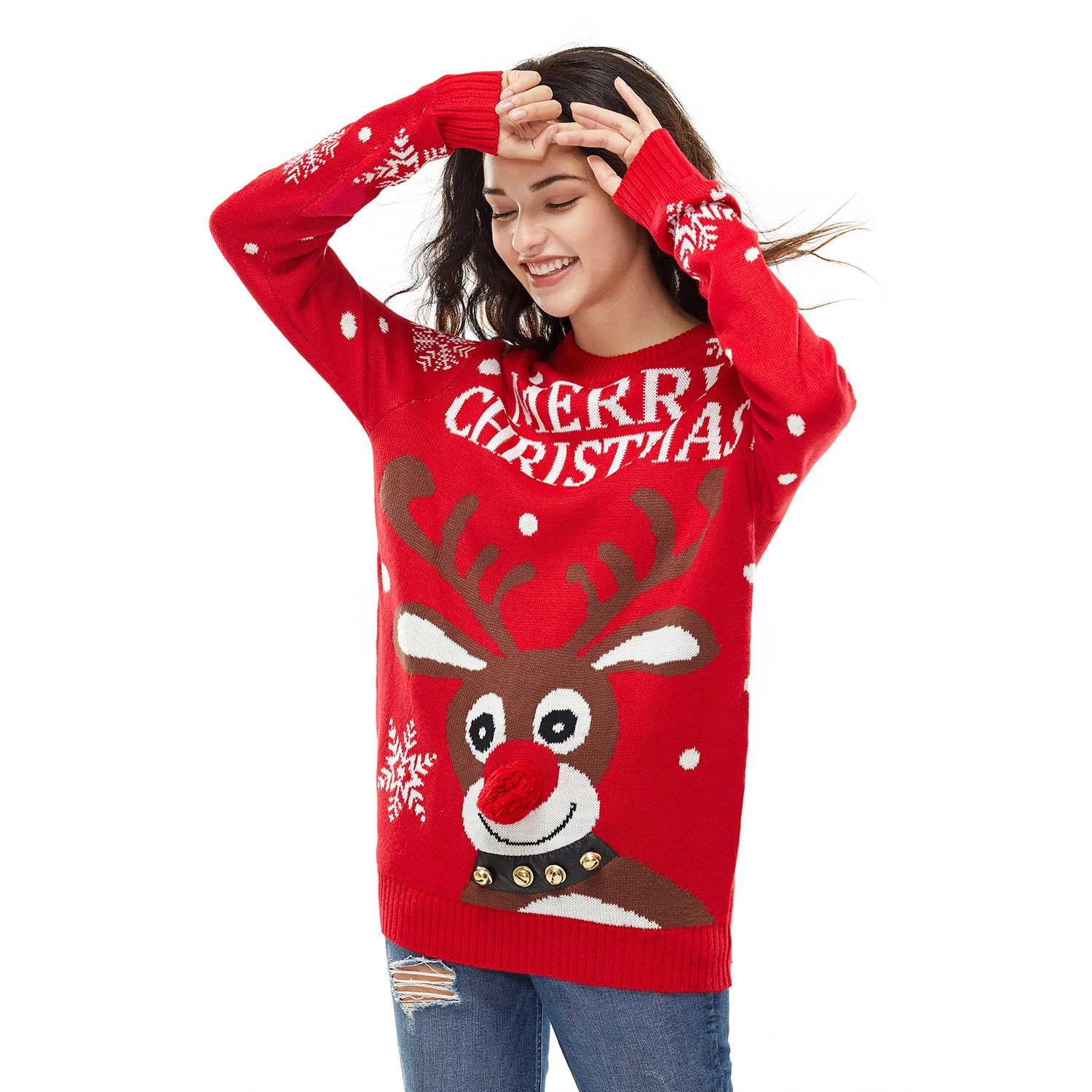 Jingle Bells Rudolph Women S Funny Ugly Christmas Sweater