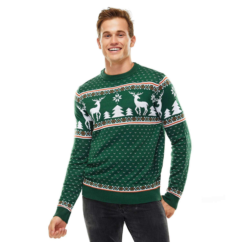 Reindeer and Snowflakes on Fleek Green Men's Christmas Sweater