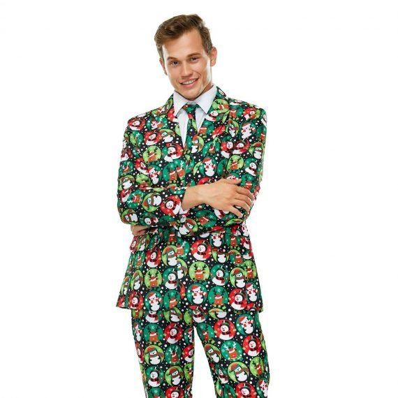 Snow Good Merry Motif Funky Mens Christmas Suit
