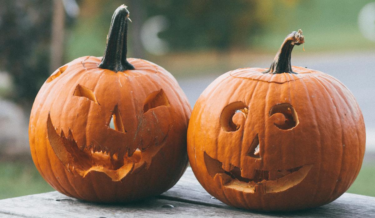 Two Halloween pumpkins