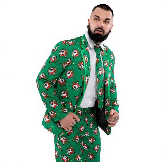 Merry Santa Goes Green Men's LED Christmas Suit